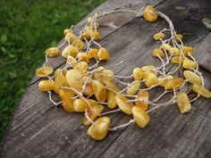 Organic Amber Necklace Baltic Amber Linen by DreamsFactory on Etsy, $55.00