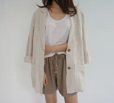 Cream oversized coat and short