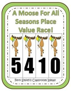 FREE Place Value Race Center Game - A Moose For All Season #TPT #FREE