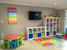 Get inspired with kids bedroom, kids' playroom ideas and photos for your home refresh or remodel. Wayfair offers thousands of design ideas for every room in every style. Playroom Organization, Playroom Decor, Kid Playroom, Children Playroom, Organizing, Playroom For Toddlers, Cheap Playroom Ideas, Basement Daycare Ideas, In Home Daycare