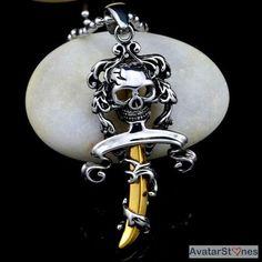 Men's Stainless Steel Skull Gold Dagger Pendant Necklace Chain P3V23 - $58nok (12)