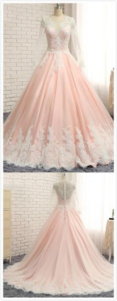 Lace Prom Dress,Ball Gown Prom Dress,Long Sleeves Evening