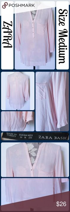 """Sz M Zara Blouse, Blush Pink So cute and perfect dressed up or down! Excellent pre worn condition, worn once! Silk/Cotton Blend Across Bust 21"""", Length 28"""" from center back, 3/4 Sleeve from armpit to end 12"""" No rips, tears, or stains.... From a smoke-free, dog friendly home, No trades!! (T136) Zara Tops Blouses"""