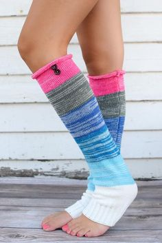 Multi-colored Leg Warmers | The perfect fall accessories to add a pop of color! | { bootcuffsocks.com }