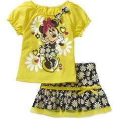 Minnie Mouse Toddler Girls' Puff Sleeve Tee and Skirt Outfit Set, Toddler Girl's, Size: 3 Years, Yellow
