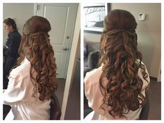 Long curly half up brunette wedding hairstyle by Pink Comb Studio, Westfield, NJ. Onsite bridal services throughout tri state area