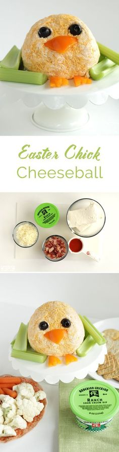 Easter Chick Cheeseball, Buffalo Bacon Ranch Cheeseball, easy and fun recipe for spring parties and Easter brunch.