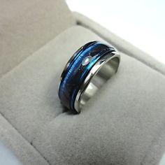 2016 Caliente!! nuevo ojo de Gato Azul Ópalos Esmalte anillos Giratorios de Acero Inoxidable Anillo de Dedo De Punk Mujeres y la Roca de Los Hombres de Joyería de Moda LR221