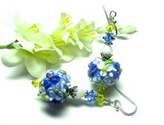 Blue Earrings Lampwork Earrings Floral Earrings by SeeMyJewelry
