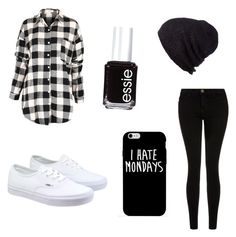 """Black and white"" by ashtian22 ❤ liked on Polyvore featuring Current/Elliott, Vans, Coal and Essie"