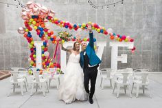 Citrus & Confetti Inspiration with a wedding balloon arch