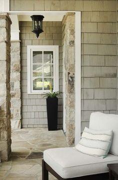 Exterior stone colors porches Ideas for 2019 Cedar Shingle Siding, Cedar Shake Siding, Shake Shingle, Stone Siding, Cedar Shingles, House Siding, Exterior Siding, Exterior Paint, Cedar Shakes