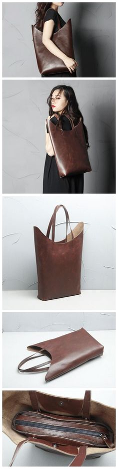 Handmade Genuine Leather Tote Bags, Leather Handbag, Womens Good Gift, Leather Goods For Women, Leather Design Clothing, Shoes & Jewelry - Women - handmade handbags & accessories - http://amzn.to/2kdX3h7