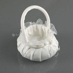 satin flowers | Ivory White Satin and Cotton Padding Wedding Flower Basket Decorated ...