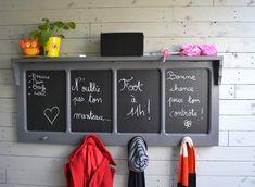 Old window transformed into blackboards – Old window repurposed in chalkboards Diy Furniture Cheap, Wood Crafts, Diy Crafts, Wood Pallets, Ikea Hacks, Repurposed, Locker Storage, Craft Projects, House Design