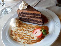 Chocolate Cake with whip N Carmel N Strawberry