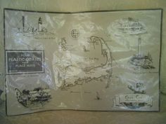 VINTAGE LITHOGRAPH LITH O SKETCH CAPE COD MASS PLACEMATS 4 PLASTIC COATED #LithOSketch