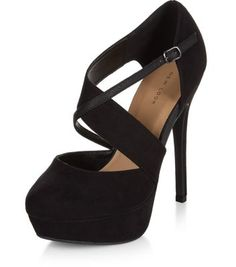 Black Chunky Cross Strap Platform Court Shoes
