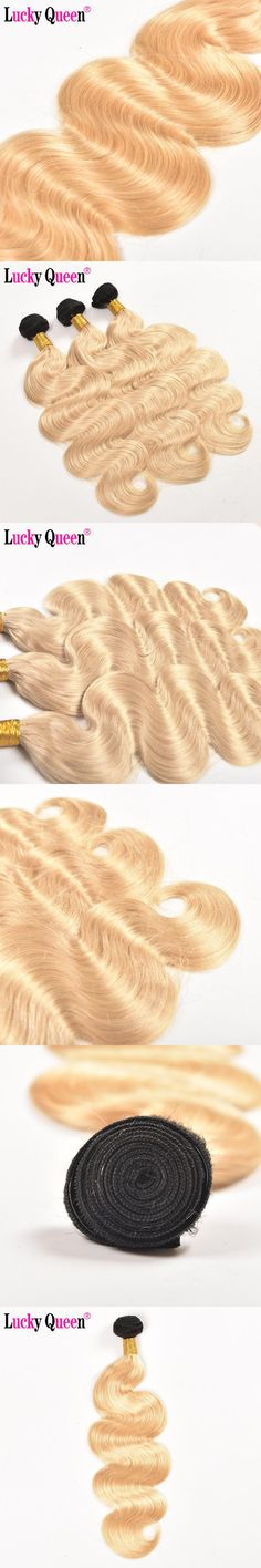 Lucky Queen Hair Products 1B/613 Brazilian Body Wave Ombre Human Hair Weave Bundles Non Remy Blonde Hair Extensions 1 Piece