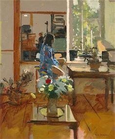 Ken Howard - Sarah Blue and Orange '04 by Ken Howard. Oil on canvas, 61 x 50.8 cm