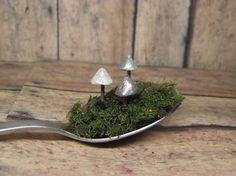 Miniature Mushrooms Raku Fired Clay Glow in the Dark by GypsyRaku