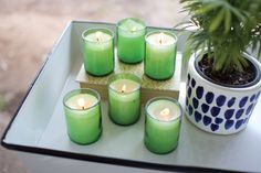 Recycled Green Glass Candles