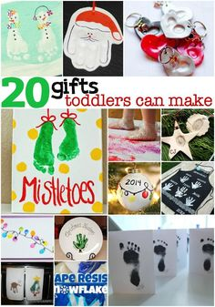 "I've pulled together a list of 20 Holiday Gifts Toddlers Can Make...like the little, itty-bitty babies just now getting into the whole ""toddler"" thing."