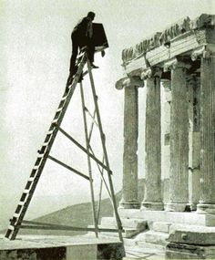 Fred Boissonnas photographing the Parthenon
