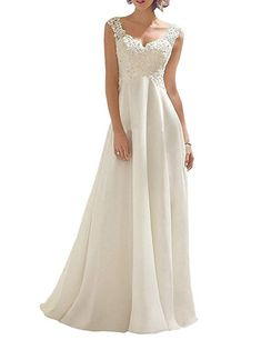 c6fa71451042 Borje Women's Double V-Neck Sleeveless Lace Wedding Dress Evening Dress at Amazon  Women's Clothing store: