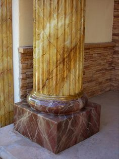 Each column, fireplace,molding or any other surface is hand painted over concrete base or any other material. I apply several texture coats and several