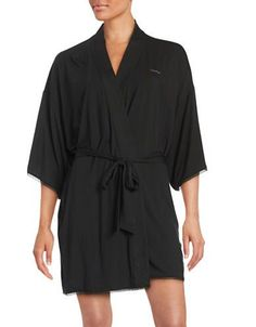 Calvin Klein Lace-Trim Jersey Short Robe Women's Black X-Small/Small