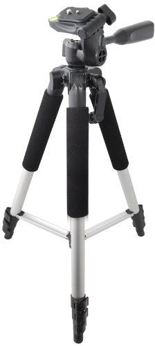 Xit XT57TRSPro Series 57-Inch 4 Section Aluminum Tripod with Quick Release, 3-way Pan Head and Bubble Level. (Silver)