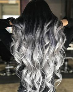 Black to Grey to Silver Ombre Hair me for Cute Silver Inspiration!Black to Grey to Silver Ombre Hair Black to Grey to Silver Ombre Hair me for Cute Silver Inspiration!Black to Grey to Silver Ombre Hair Ombre Hair Color, Cool Hair Color, Silver Ombre Hair, Black To Grey Ombre Hair, Gray Ombre, Hair Color Black, Black To Blonde Hair, Long Silver Hair, Dyed Hair Ombre