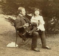 Maud Sambourne with her father the Punch cartoonist Edward Linley Sambourne