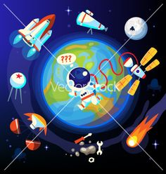 Colorful space and Earth icons on VectorStock