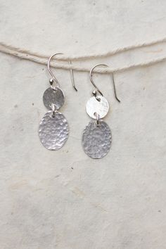 silver drop earrings   hammered sterling by HopestillStudio, $35.00