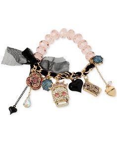 Betsey Johnson Gold-Tone Crystal, Bead and Skull Multi-Charm Half-Stretch Bracelet