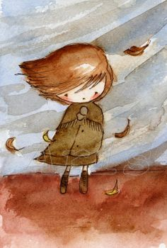 I just love the sweet simplicity and innocence of this print. reminds me of being a little girl. Art And Illustration, Videos Kawaii, Disney Stich, Autumn Art, Whimsical Art, Art Plastique, Graphic, Cute Drawings, Love Art