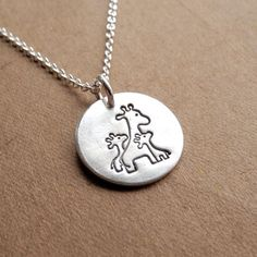 Small Mother and Twin Giraffe Necklace, Mom and Two Kids, New Mom Jewelry, Fine Silver, Sterling Sil Giraffe Tattoos, Baby Tattoos, Tattoos For Kids, Trendy Tattoos, Giraffe Necklace, Dog Tag Necklace, Baby Jewelry, Sterling Silver Chains, Twins