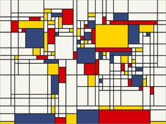 Map of the World Map in the style of Piet Mondrian Art by artPause