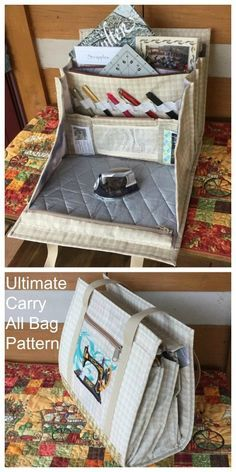 Carry All Bag sewing pattern Ultimate Carry All Bag sewing pattern and ?️ Bags and PursesUltimate Carry All Bag sewing pattern and ?️ Bags and Purses Bag Patterns To Sew, Sewing Patterns Free, Free Sewing, Sewing Pattern Storage, Quilted Bags Patterns, Messenger Bag Patterns, Patchwork Bags, Sewing Basics, Sewing Hacks