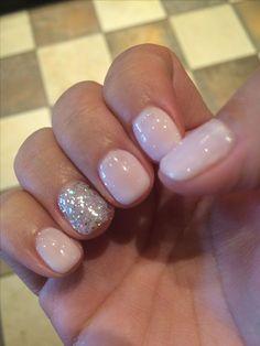 Vegas nails! No chip manicure using Gelish Romantique with silver sparkle