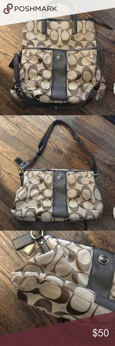 Brown Coach Tote/Crossbody Brown and Tan Coach Tote/Crossbody. Great condition! Perfect if you like big bags! Coach Bags Crossbody Bags