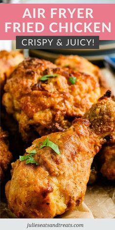 Healthy Fried Chicken, Air Fryer Fried Chicken, Air Fried Food, Buttermilk Fried Chicken, Fried Chicken Recipes, Perfect Fried Chicken, Oven Fried Chicken, Air Fry Chicken, Fried Chicken Drumsticks