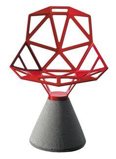 Fauteuil Chair one B / Métal & base béton Rouge - Magis