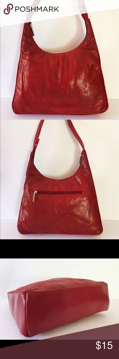 Stone Mountain Red Python Texture Vintage Hobo Bag Vintage Stone Mountain leather Python texture hobo shoulder bag zip top entry, clean black fabric interior lining. Good condition with some darkening at bottom corners Stone Mountain Bags Shoulder Bags
