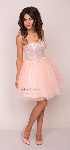 2a187fe336 AMANDA gorsetowa rozkloszowana sukienka różowa Koronkowe Sukienki