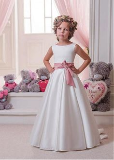 Buy discount Wonderful Satin Bateau Neckline A-Line Flower Girl Dresses With Belt at Dressilyme.com