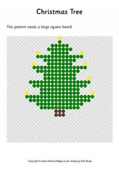 Christmas Tree With Candles Fuse Bead Pattern