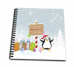 Dooni Designs Christmas And Winter Designs  Christmas Santa Penguin With Presents and Merry Christmas Sign Winter Holiday Xmas Cartoon Greeting  Memory Book 12 x 12 inch db_119109_2 >>> You can find more details by visiting the image link.